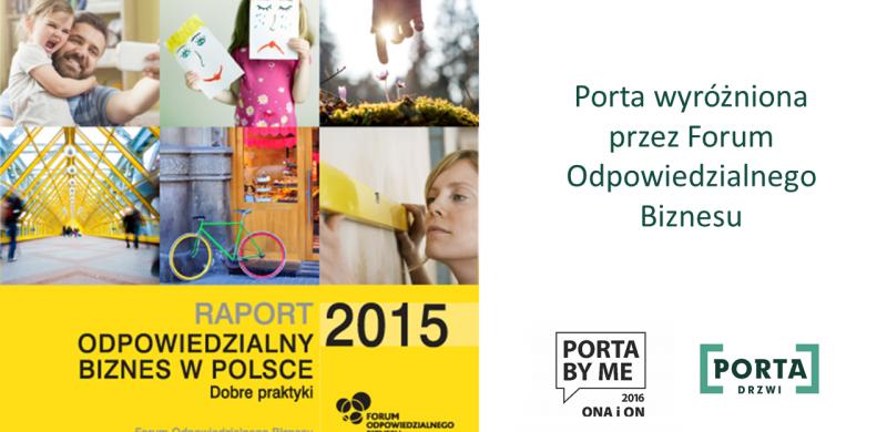 """Konkurs PORTA BY ME wyróżniony w raporcie """"Odpowiedzialny biznes w Polsce. Dobre praktyki"""""""