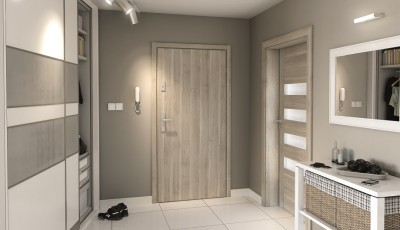 Drzwi wejściowe do mieszkania AGAT Plus intarsje 4 Okleina Portasynchro 3D *** Akacja Srebrna