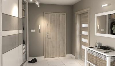 Drzwi wejściowe do mieszkania AGAT Plus pełne Okleina Portasynchro 3D *** Jesion Capri 1