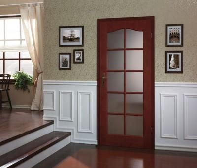 Interiérové dvere MADRYT  3/3 sklo s rámčekom Prírodná dýha Satin **** Mocca