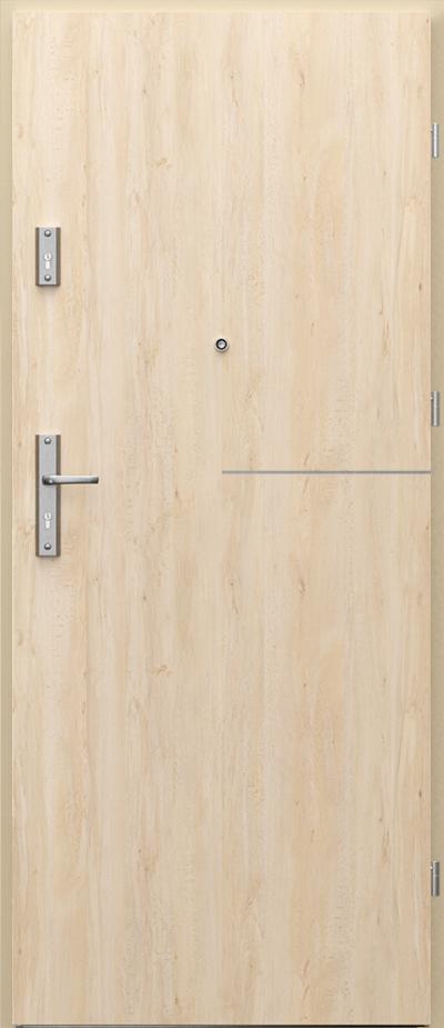 Drzwi wejściowe do mieszkania AGAT Plus intarsje 8 Okleina Portaperfect 3D **** Buk Skandynawski