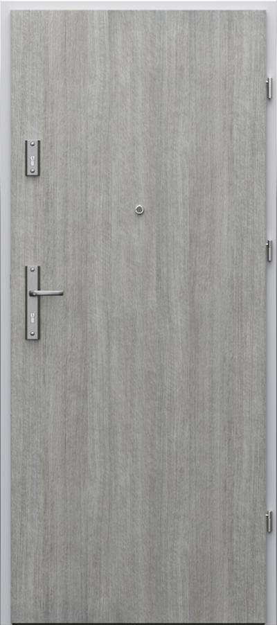Drzwi wejściowe do mieszkania AGAT Plus pełne - pionowy układ okleiny