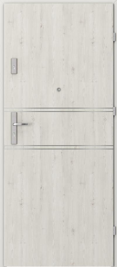 Drzwi wejściowe do mieszkania AGAT Plus intarsje 4 Okleina Portasynchro 3D *** Sosna Norweska