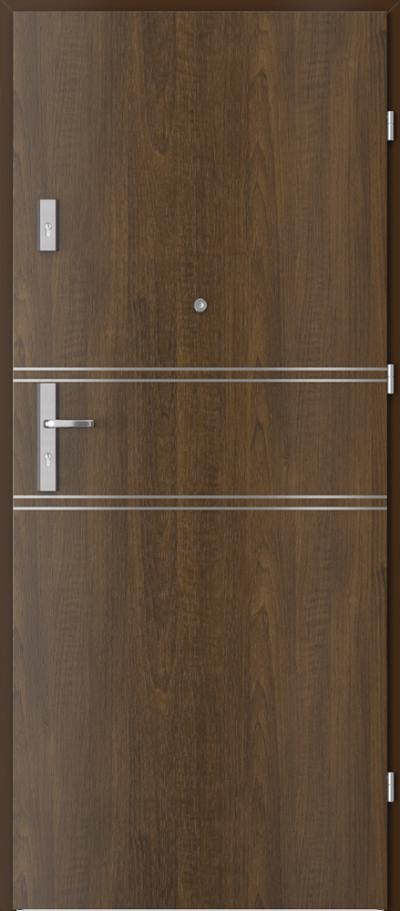 Drzwi wejściowe do mieszkania AGAT Plus intarsje 4 Okleina Drewnopodobna PCV **** Orzech