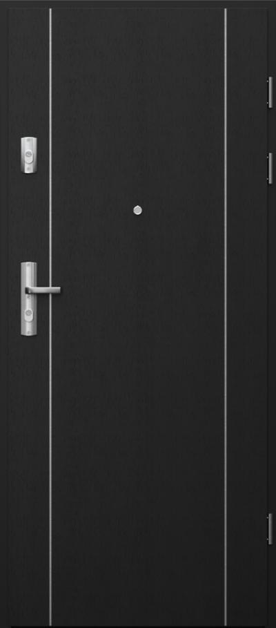Drzwi wejściowe do mieszkania GRANIT intarsje 1 Okleina Naturalna Select **** Czarny