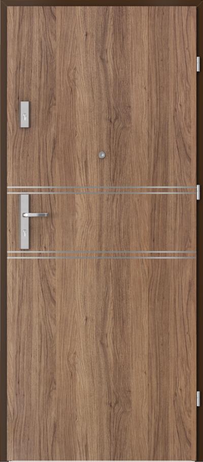 Drzwi wejściowe do mieszkania AGAT Plus intarsje 4 Okleina Portaperfect 3D **** Dąb Kalifornia