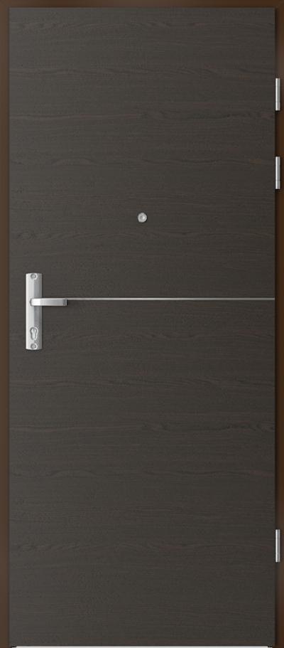 Drzwi wejściowe do mieszkania EXTREME RC3 intarsje 7 Okleina Naturalna Select **** Orzech Ciemny
