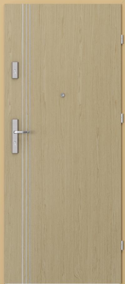Drzwi wejściowe do mieszkania OPAL Plus intarsje 3 Okleina Naturalna Select **** Dąb