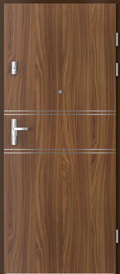 Drzwi wejściowe do mieszkania KWARC intarsje 4 Okleina CPL HQ 0,7 ****** Orzech Modena 1