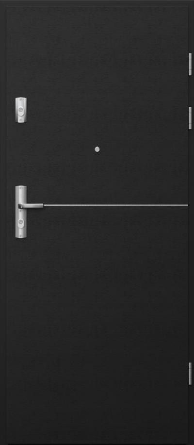 Drzwi wejściowe do mieszkania KWARC intarsje 7 Okleina Naturalna Select **** Czarny