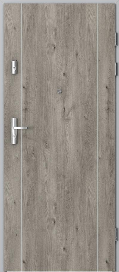 Drzwi wejściowe do mieszkania KWARC intarsje 1 Okleina Portaperfect 3D **** Dąb Syberyjski