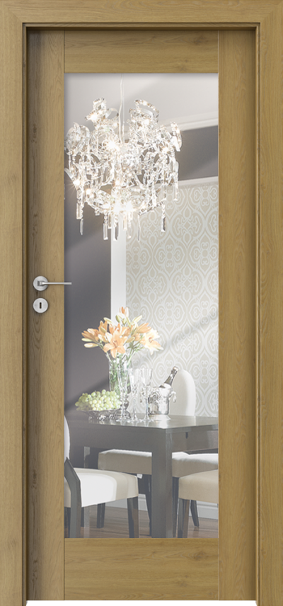 Drzwi wewnętrzne Porta INSPIRE A.1 z lustrem 2 str. Okleina Portaperfect 3D **** Dąb Naturalny