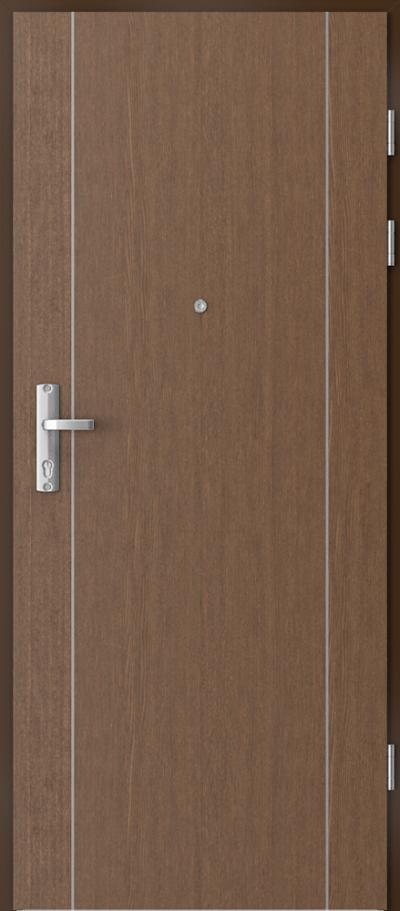 Drzwi wejściowe do mieszkania EXTREME RC3 intarsje 1 Okleina Naturalna Dąb Satin **** Dąb Brunatny