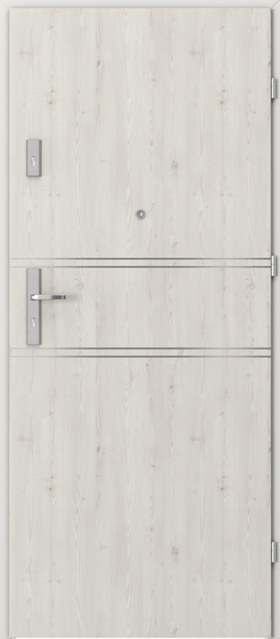 Drzwi wejściowe do mieszkania OPAL Plus intarsje 4 Okleina Portasynchro 3D *** Sosna Norweska