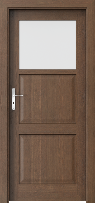 Drzwi wewnętrzne CORDOBA małe okienko Okleina Naturalna Dąb Satin **** Dąb Brunatny