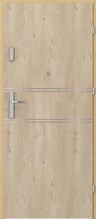 Drzwi wejściowe do mieszkania OPAL Plus intarsje 4 Okleina Portaperfect 3D **** Dąb Klasyczny