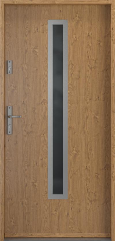 Drzwi wejściowe do domu Steel SAFE RC2 Thermo B1 Blacha Stalowa Laminowana PCV ***** Dąb Winchester