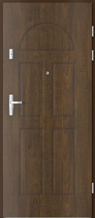 Drzwi wejściowe do mieszkania KWARC frezowane model 2 Okleina Drewnopodobna PCV **** Orzech