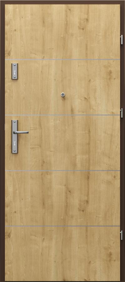 Drzwi wejściowe do mieszkania OPAL Plus intarsje 6 Portalamino**** Dąb Angielski Hamilton