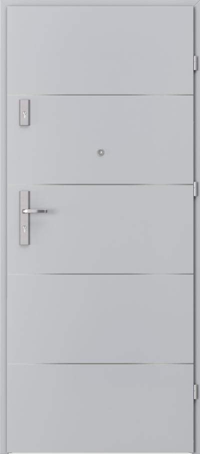 Drzwi wejściowe do mieszkania OPAL Plus intarsje 6 Okleina CPL HQ 0,2 ***** Popielaty Euroinvest