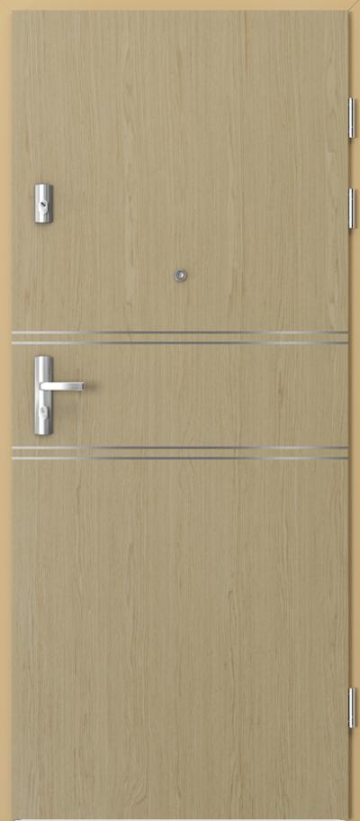 Drzwi wejściowe do mieszkania GRANIT intarsje 4 Okleina Naturalna Select **** Dąb