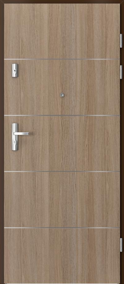 Drzwi wejściowe do mieszkania KWARC intarsje 6 Okleina CPL HQ 0,7 ****** Dąb Milano 2