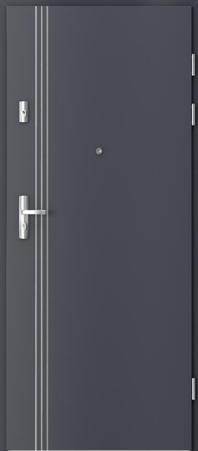 Drzwi wejściowe do mieszkania GRANIT intarsje 3 Okleina CPL HQ 0,2 ***** Antracyt HPL CPL