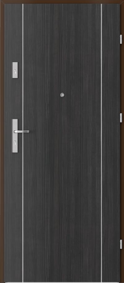 Drzwi wejściowe do mieszkania AGAT Plus intarsje 1 Okleina CPL HQ 0,2 ***** Struktura ciemny