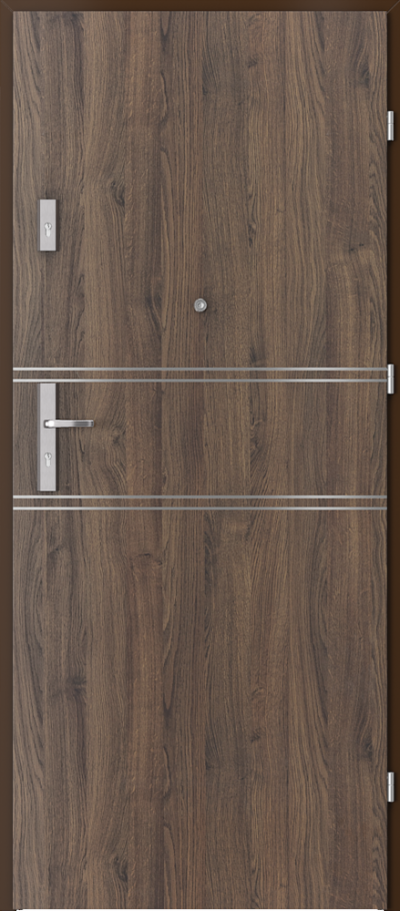Drzwi wejściowe do mieszkania OPAL Plus intarsje 4 Okleina Portasynchro 3D *** Dąb Szkarłatny