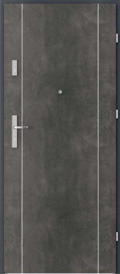 Drzwi wejściowe do mieszkania AGAT Plus pełne Okleina CPL HQ 0,2 ***** Beton Ciemny