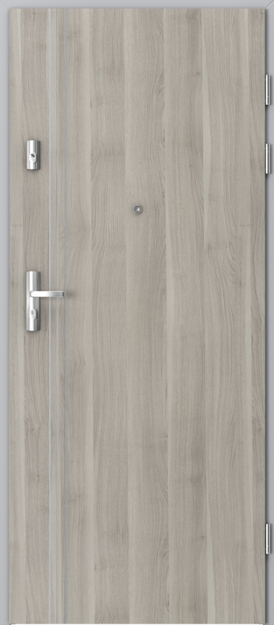Drzwi wejściowe do mieszkania KWARC intarsje 3 Okleina Portasynchro 3D *** Akacja Srebrna