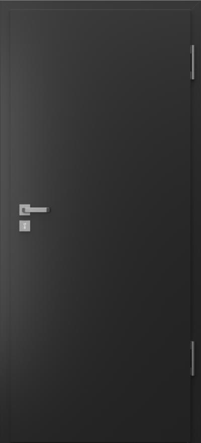 Drzwi techniczne Porta SILENCE płaskie Farba Poliestrowa Premium ***** Czarny struktura