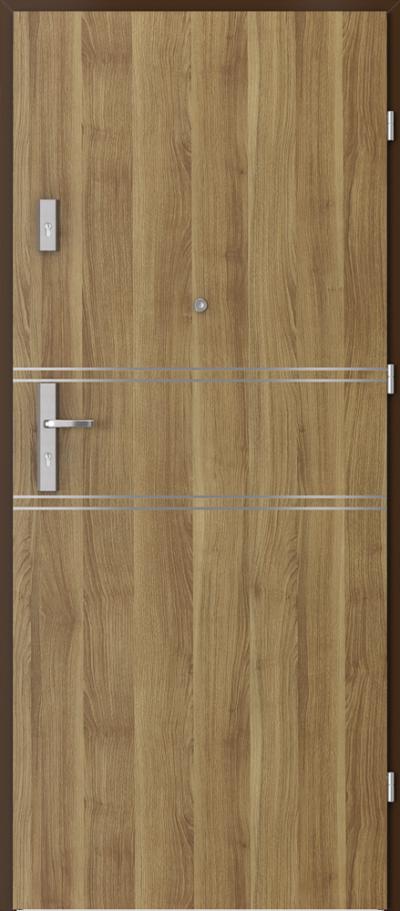Drzwi wejściowe do mieszkania OPAL Plus intarsje 4 Okleina Portasynchro 3D *** Akacja Miodowa