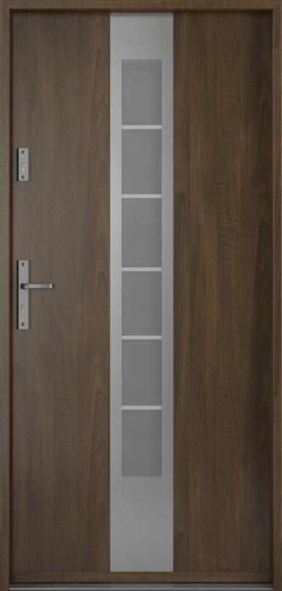 Drzwi wejściowe do domu Steel SAFE RC2 Thermo E1 Blacha Stalowa Laminowana PCV ***** Orzech