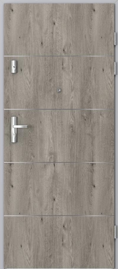Drzwi wejściowe do mieszkania KWARC intarsje 6 Okleina Portaperfect 3D **** Dąb Syberyjski