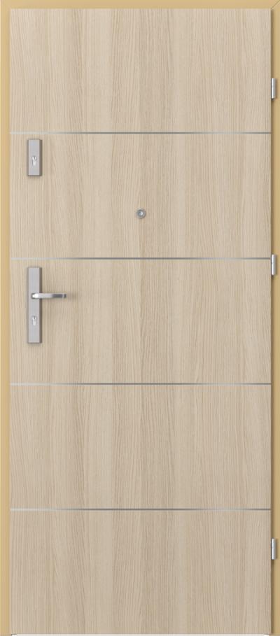 Drzwi wejściowe do mieszkania AGAT Plus intarsje 6 Okleina CPL HQ 0,7 ****** Dąb Milano 1