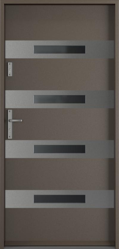 Drzwi wejściowe do domu Steel SAFE RC2 Thermo F1 Farba Poliestrowa ***** Metalic Titanium