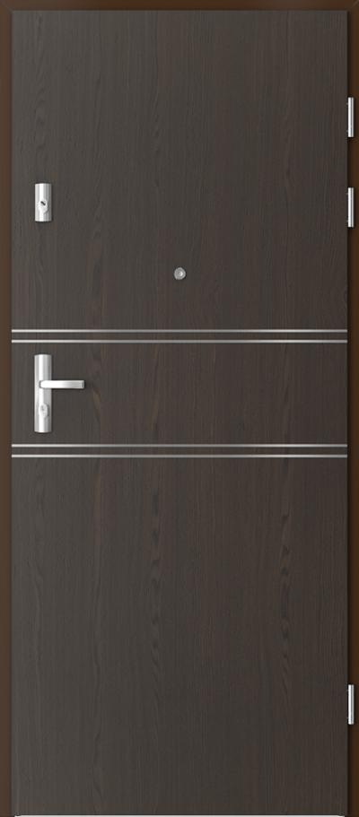Drzwi wejściowe do mieszkania GRANIT intarsje 4 Okleina Naturalna Select **** Orzech Ciemny