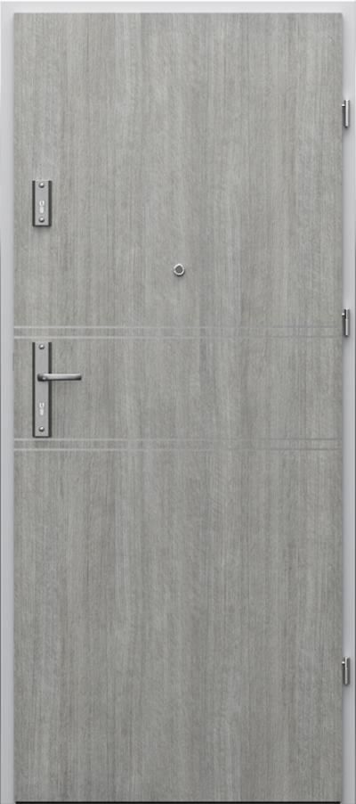 Drzwi wejściowe do mieszkania AGAT Plus intarsje 4 Portalamino**** Dąb Srebrzysty