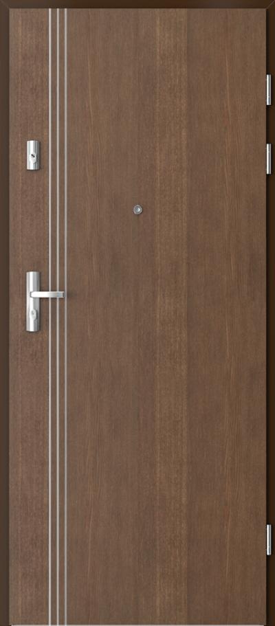 Drzwi wejściowe do mieszkania GRANIT intarsje 3 Okleina Naturalna Dąb Satin **** Dąb Brunatny