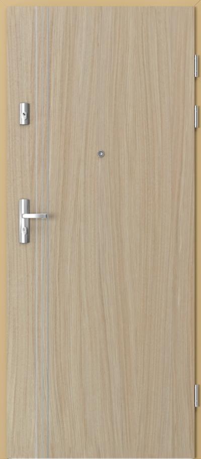 Drzwi wejściowe do mieszkania GRANIT intarsje 3 Okleina Naturalna Dąb Satin **** Dąb Jasny