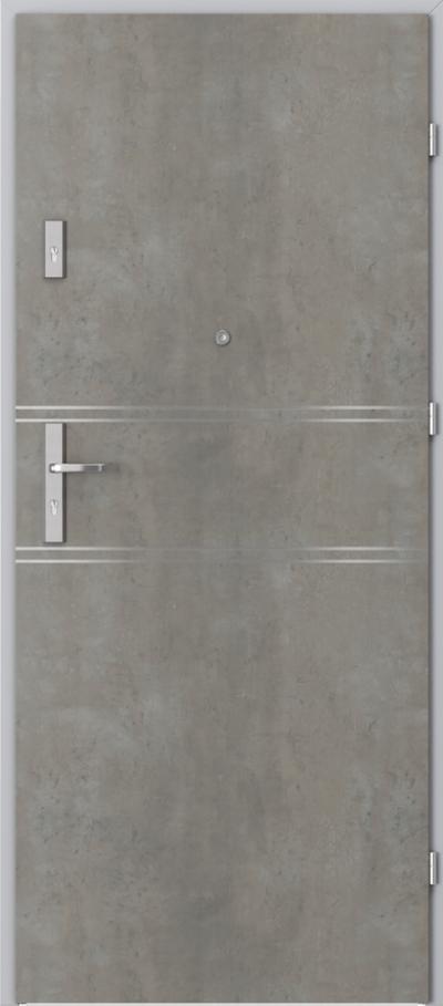 Drzwi wejściowe do mieszkania AGAT Plus intarsje 4 Okleina CPL HQ 0,2 ***** Beton jasny