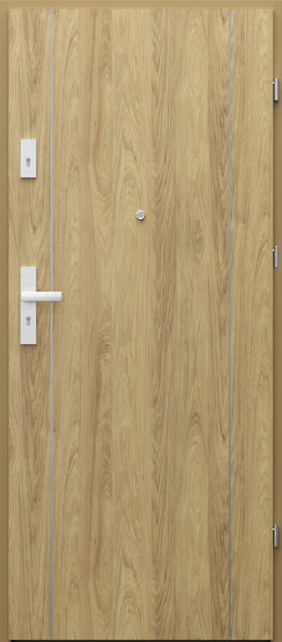 Drzwi wejściowe do mieszkania AGAT Plus intarsje 1 Okleina CPL HQ 0,7 ****** Hikora Naturalna