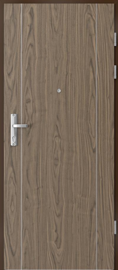 Drzwi wejściowe do mieszkania EXTREME RC3 intarsje 1 Okleina Naturalna Orzech **** Orzech