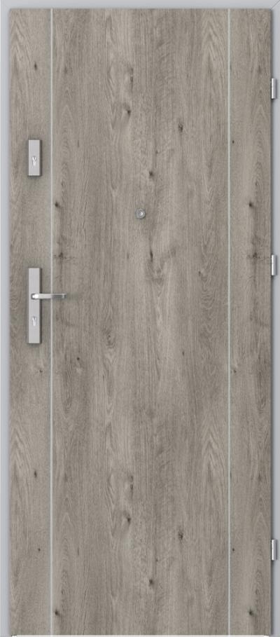 Drzwi wejściowe do mieszkania OPAL Plus intarsje 1 Okleina Portaperfect 3D **** Dąb Syberyjski