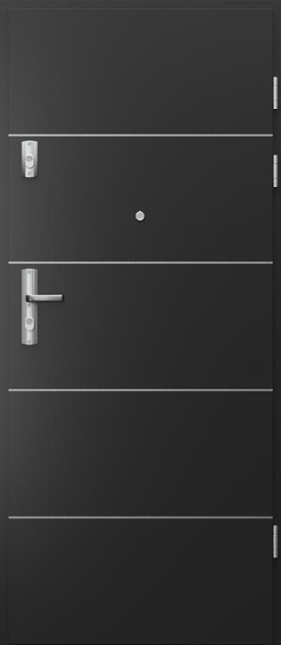 Drzwi wejściowe do mieszkania KWARC intarsje 6 Okleina CPL HQ 0,7 ****** Czarny