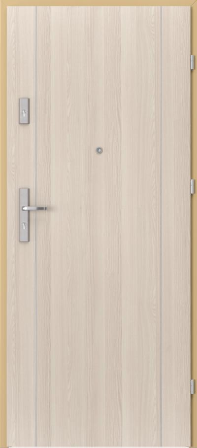 Drzwi wejściowe do mieszkania AGAT Plus intarsje 1 Okleina CPL HQ 0,7 ****** Orzech Bielony