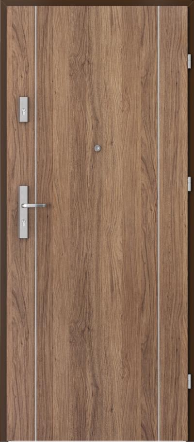 Drzwi wejściowe do mieszkania AGAT Plus intarsje 1 Okleina Portaperfect 3D **** Dąb Kalifornia
