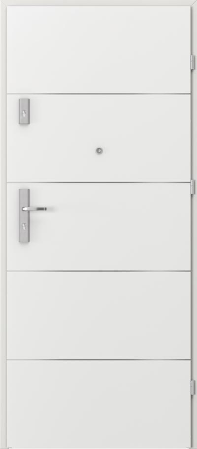 Drzwi wejściowe do mieszkania OPAL Plus intarsje 6 Okleina CPL HQ 0,2 ***** Biały
