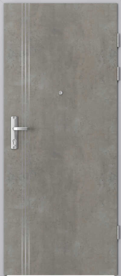 Drzwi wejściowe do mieszkania EXTREME RC3 intarsje 3 Okleina CPL HQ 0,7 ****** Beton jasny